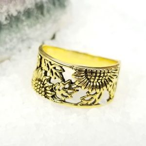 {The Sunflower Fields Ring} Sterling Gold Plated